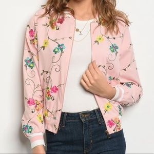 NWT Lightweight Floral Bomber Jacket for Spring